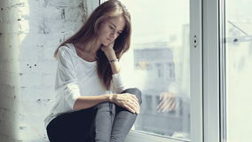 Feeling of sadness of young beautiful girl