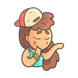 Feeling Shy Girl In Cap, Choker And Blue Top Hand Drawn Emoji Cool Outlined Portrait. Part Of Funky Flat Vector Sticker Series With Teenager Different Stock Photos