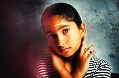Feeling Sorry-Portrait of Girl Child Royalty Free Stock Photography
