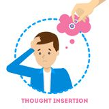 Feeling of thought insertion as symptom of schizophrenia and bipolar disorder. Mental disorder. Idea of illness and medical treatment. Isolated vector stock illustration