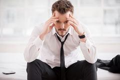 Feeling tired and depressed. Stock Photos