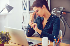 Feeling tired and stressed. Stock Image