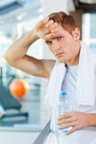 Feeling tired after workout. Stock Photo