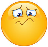 Feeling unwell emoticon. Emoticon feeling unwell, sad, shaken or horrified Royalty Free Stock Images
