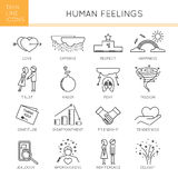 Feelings and emotions set. Thin line icons set, vector illustration. Human feelings and emotions, couple relationships. Strong metaphors, isolated symbols. Black Stock Photo