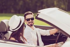 Feelings, married family, friendship, reach destination, escape, speed ride lifestyle. Carefree cheerful driver husband, lady. Wife are on their way to dreams royalty free stock photography