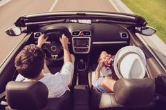 Feelings, married family, friendship, reach destination, escape, speed ride lifestyle. Carefree driver husband, lady wife with gi. Ft present on their way to royalty free stock photos