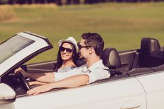 Feelings, married family, friendship, reach destination, escape, speed ride lifestyle. Carefree cheerful driver husband, lady. Wife are on their way to dreams royalty free stock photo
