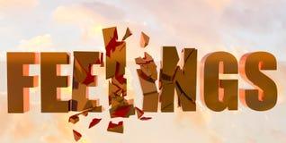 Feelings psychology text - 3d rendering. Feelings psychology text sky - 3d rendering stock illustration