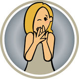 Feelings Woman Fear. Afraid woman covering the mouth with its hands royalty free illustration