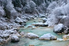 Feels like heaven. Early winter on Soča river, Slovenia, Europe Royalty Free Stock Photo