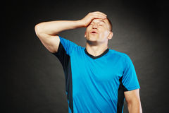 He feels. Man had a headache and now he feels relief from it Royalty Free Stock Photo
