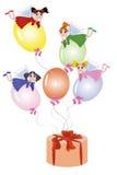 Feen, die auf Ballone fliegen Lizenzfreies Stockfoto