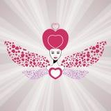 Feenhafte Königin der Liebe mit Innerflügeln. Valentinsgruß Lizenzfreie Stockfotografie