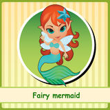 Feenhafte Meerjungfrau - nette Mädchenillustrationsnahaufnahme stock abbildung