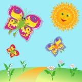 Feenhafte Schmetterlinge und Sun über Wiese Stockfoto