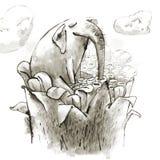 Feenhafter Elefant trinkt Nektar einer riesigen Magie Lizenzfreies Stockfoto