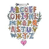 Feenhaftes Alphabet des Vektors Beschriften, Anfangsbuchstaben, mittelalterliche Art der Weinlese lizenzfreie abbildung