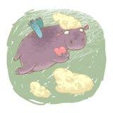 Feenhaftes Flusspferd mit einem Herzen Lizenzfreies Stockbild