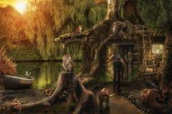 Feenhaftes Haus durch den Teich Lizenzfreie Stockfotos