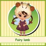 Feenhaftes Lamm - nettes Mädchen im braunen Kleid lizenzfreie abbildung