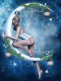 Feenhaftes Mädchen und ein Mond lizenzfreie abbildung