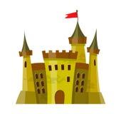 Feenhaftes mittelalterliches Schloss in der Karikaturart auf weißem Hintergrund wird isoliert Lizenzfreie Stockfotografie