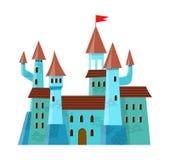 Feenhaftes mittelalterliches Schloss in der Karikaturart auf weißem Hintergrund wird isoliert Stockbild