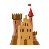Feenhaftes mittelalterliches Schloss in der Karikaturart auf weißem Hintergrund wird isoliert Stockfotos