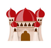 Feenhaftes mittelalterliches Schloss in der Karikaturart auf weißem Hintergrund wird isoliert Lizenzfreie Stockbilder