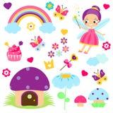 Feensatz Sammlung Karikaturmärchengestaltungselemente Regenbogen, Pilzhaus, Waldsymbole Aufkleber, Clipart für Mädchen lizenzfreie abbildung