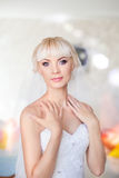 Fees bride on the wedding day. Morning bride on a sunny day wedding day Royalty Free Stock Photography