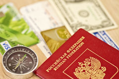Fees are on a long trip required items : passport, Bank card and Royalty Free Stock Images