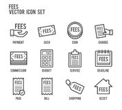 Fees payment line vector icon set. Fees payment bill price tag line icon style Stock Image