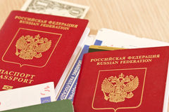 Fees before you travel. Things not to forget : passport, tickets Stock Photos