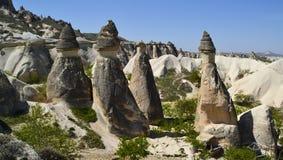 Feeschoorstenen dichtbij Goreme, Pasabagi, Cappadocia, Turkije stock foto