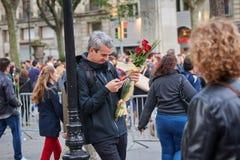 Feest van heilige Jordi, patroonheilige van Cataloni? stock fotografie