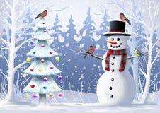 Feest van Kerstmis Sneeuwman, Kerstboom, wilde vogel, de winterlandschap Royalty-vrije Stock Fotografie