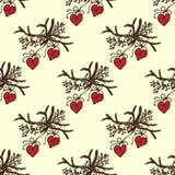 Feest van Kerstmis Takkerstbomen met speelgoed Nieuwe jaaruitnodiging Naadloos patroon Royalty-vrije Stock Afbeelding
