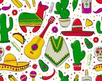 Feesta and Latin American festivals. Seamless pattern on mexico theme. Traditional Spanish objects. Poncho and sambrebo. Guitar and maracas. Tequila with Royalty Free Stock Photos