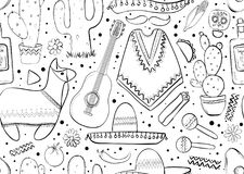Feesta and Latin American festivals. Seamless pattern on mexico theme. Traditional Spanish objects. Poncho and sambrebo. Guitar and maracas. Tequila with Stock Photos
