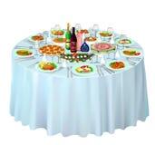 Feestbuffet op wit wordt gediend dat Stock Afbeelding