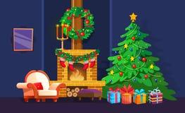 Feestelijk binnenland van Kerstmisruimte op vooravond gelukkig nieuw jaar royalty-vrije illustratie