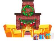 Feestelijk binnenland van Kerstmisruimte op vooravond gelukkig nieuw jaar vector illustratie
