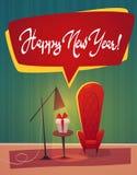 Feestelijk binnenland van woonkamer op vooravond van gelukkig nieuw jaar Het vakje van de Kerstmisgift en decoratieve kroon, de v stock illustratie