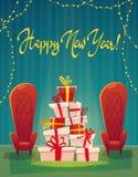 Feestelijk binnenland van woonkamer op vooravond van gelukkig nieuw jaar Het vakje van de Kerstmisgift en decoratieve kroon, de v royalty-vrije illustratie
