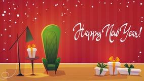 Feestelijk binnenland van woonkamer op vooravond van gelukkig nieuw jaar Het vakje van de Kerstmisgift en decoratieve kroon, de v vector illustratie