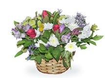 Feestelijk boeket van bloemen in rieten die mand op witte bedelaars wordt geïsoleerd royalty-vrije stock afbeelding
