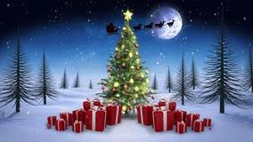 Feestelijk brunette die een Kerstmiskaart voorstellen vector illustratie