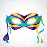 Feestelijk Carnaval-masker op achtergrond van confettien stock illustratie